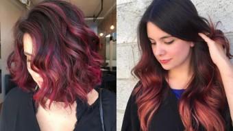 Мелирование красным на темный волос